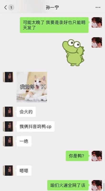孙一宁呜呜姐聊天记录曝光 组假CP套路粉丝赚钱