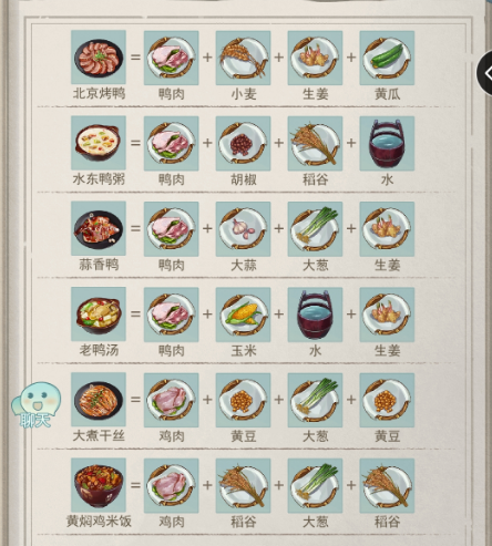 江湖悠悠三测最新食谱菜谱配方大全