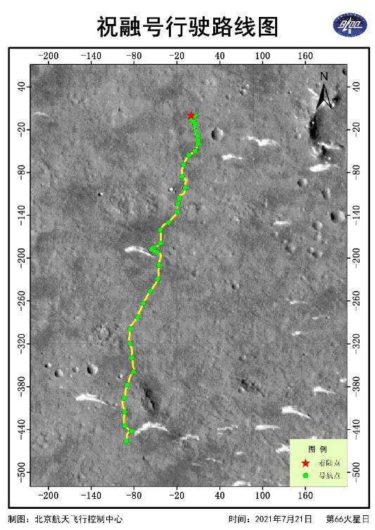 """天问一号成功发射一周年 """"祝融号""""火星车行驶路线图及最新火星影像来了!"""