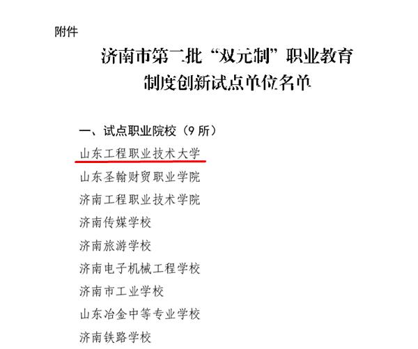 """山东工程职业技术大学成功入选济南市""""双元制""""职业教育制度创新试点单位"""