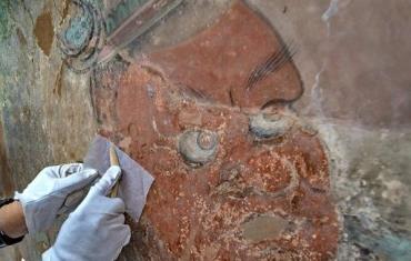 山西运城永乐宫壁画修复现场