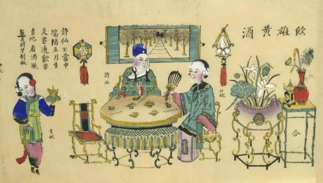 《饮雄黄酒》,清代杨柳青年画。