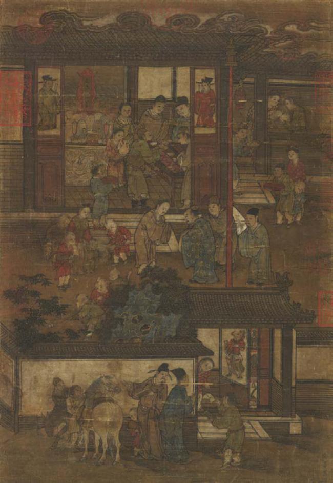 宋·李嵩(传)《岁朝图》。采自Wen-chienCheng,YanwenJiang,GodsinMyHome:ChineseAncestorPortraitsandPopularPrints,Toronto,RoyalOntarioMuseum,2019,p.3.
