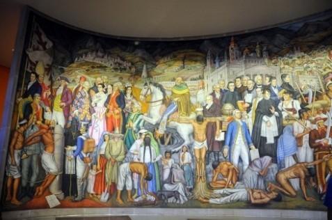 描绘墨西哥人民抗击外来侵略者、争取民族独立、建立民主共和国的大型史诗壁画(一)