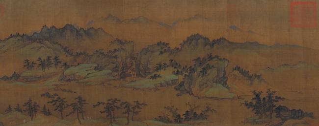 《春山图》卷(局部),元,商琦绘,绢本,设色,纵39.6厘米,横214.5厘米。