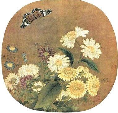 宋·朱绍宗《菊丛飞蝶图》