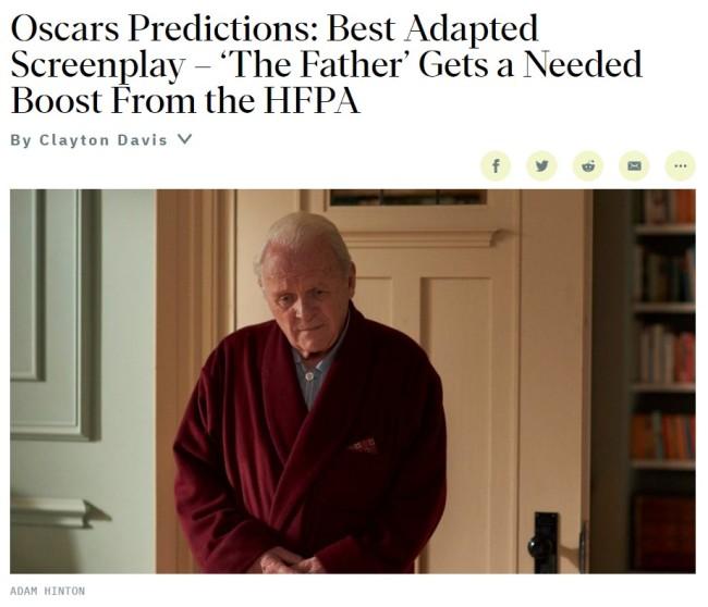 安东尼·霍普金斯获终身成就奖《父亲》成奥斯卡多项大奖热门