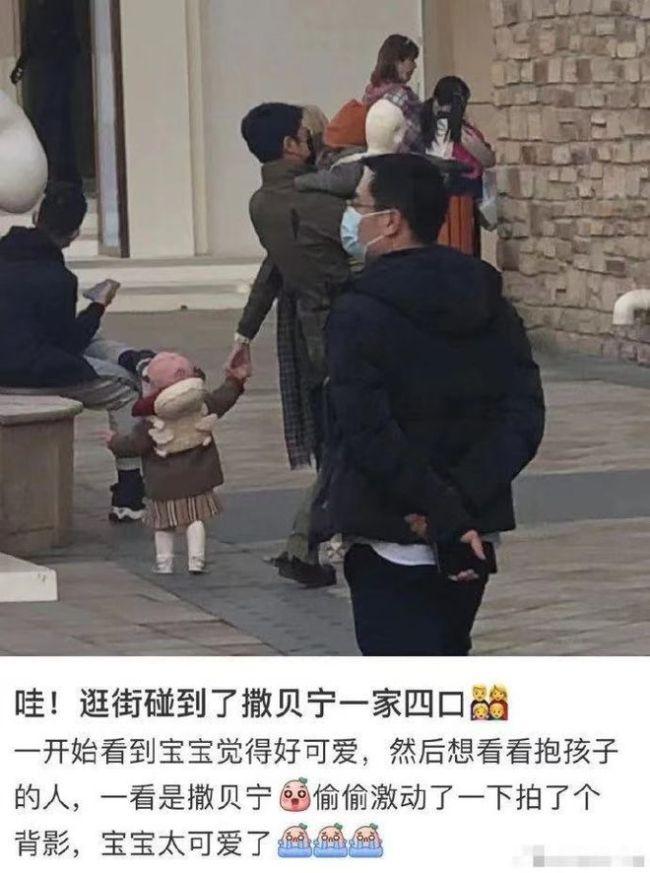 撒贝宁一家四口逛街被网友偶遇 宝宝背影乖巧可爱