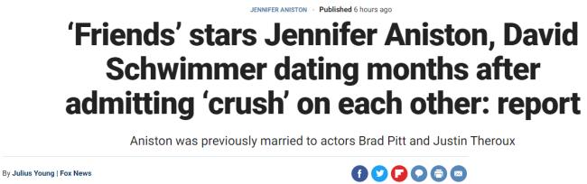 《老友记》瑞秋和罗斯CP成真?双方代表否认恋情