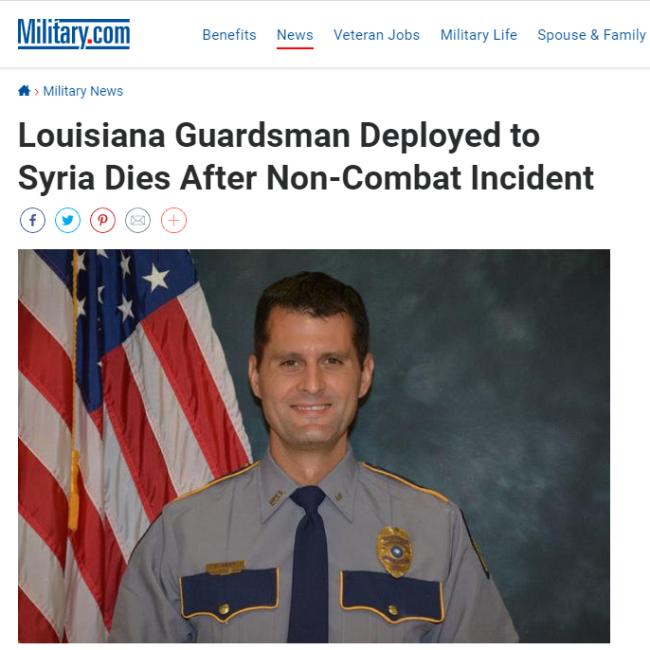 """在叙利亚参与""""非战斗事件""""后,一美军士兵死亡"""