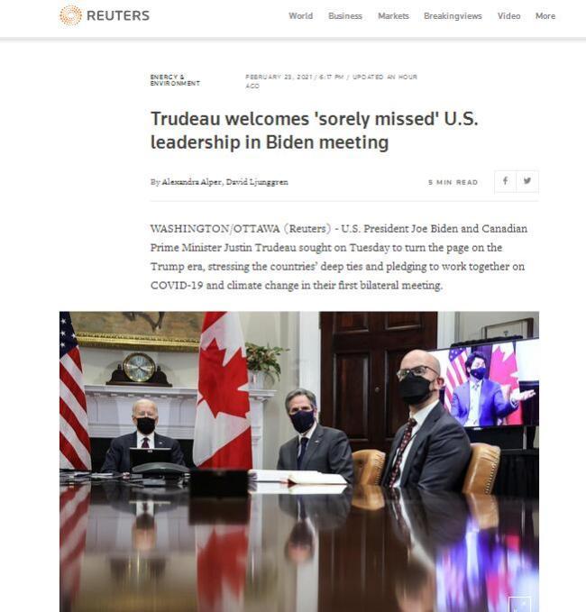 美加领导人首次双边会晤,特鲁多拿拜登与特朗普相比