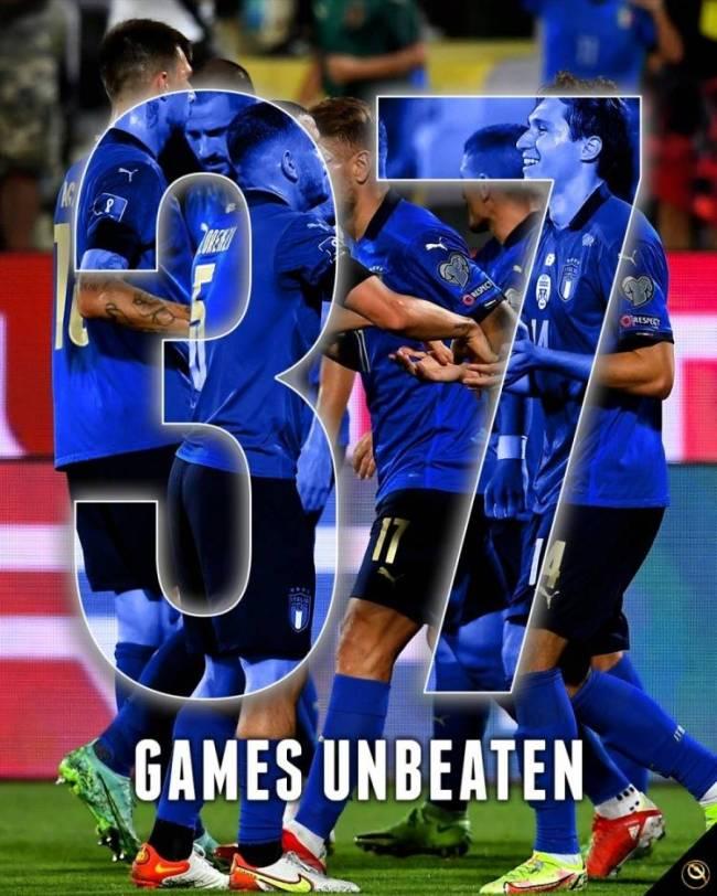 28胜9平,意大利连续37场不败破巴西纪录