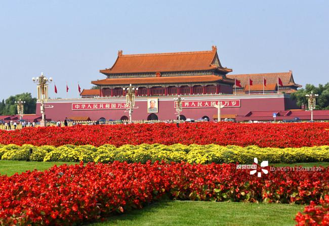 北京:天安门广场花团锦簇喜迎国庆编辑图片素材-ID:1350383039
