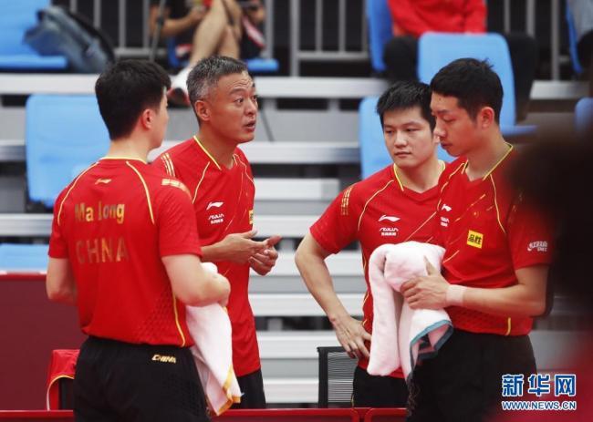 国乒热身赛男子团体赛:中国一团连胜