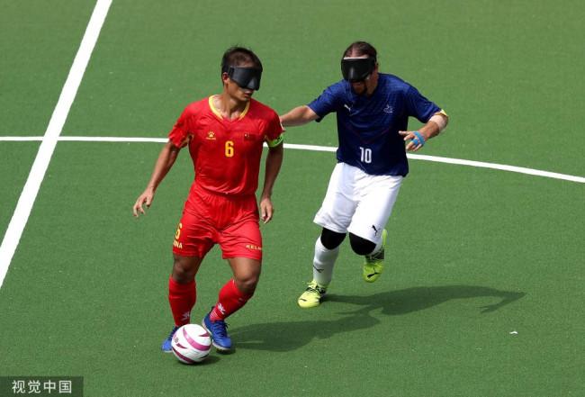 残奥会5人制盲人足球小组赛:中国1-0击败法国